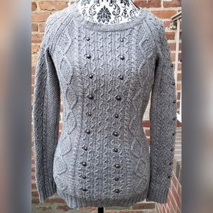 American Eagle Outfitters Cable Knit Sweater Gray